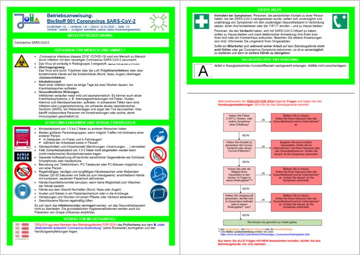 Biostoff-Betriebsanweisung Coronavirus
